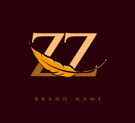 Initial letter ZZ logo with Feather Company Name, Simple and Clean Design. Vector Logo for Business and Company