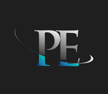 PE initial logo company name colored blue and white swoosh design, isolated on dark background. vector logo for business and company identity.