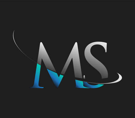 MS initial logo company name colored blue and white swoosh design, isolated on dark background. vector logo for business and company identity.