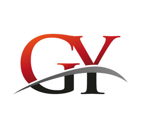 initial letter GY logotype company name colored red and black swoosh design. isolated on black background. Logó