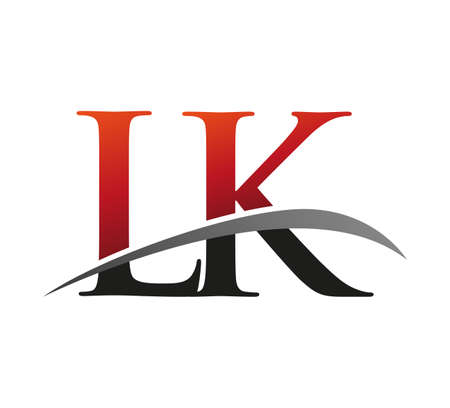 initial letter LK logotype company name colored red and black swoosh design. isolated on black background.