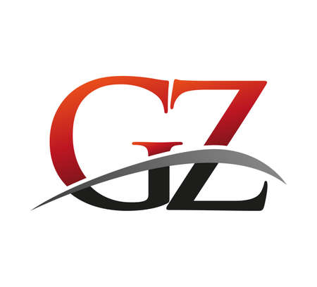 initial letter GZ logotype company name colored red and black swoosh design. isolated on black background.