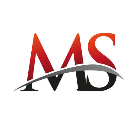 initial letter MS logotype company name colored red and black swoosh design. isolated on black background. 向量圖像