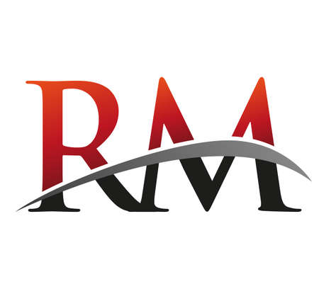 initial letter RM logotype company name colored red and black swoosh design. isolated on black background.