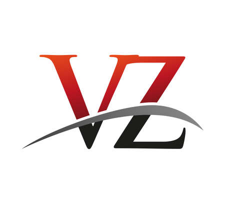 initial letter VZ logotype company name colored red and black swoosh design. isolated on black background.