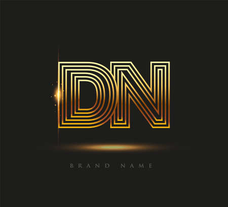 Initial Logo Letter DN, Bold Logotype Company Name Colored Gold, Elegant Design. isolated on black background.