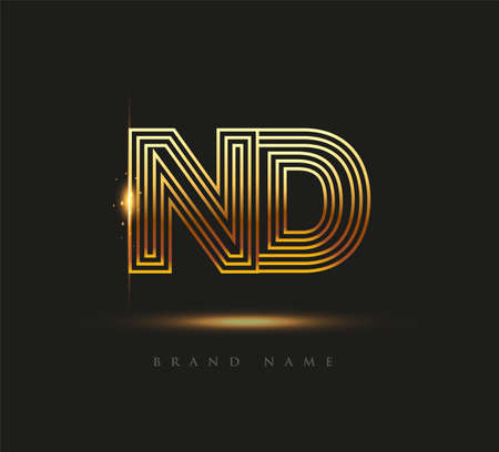 Initial Logo Letter ND, Bold Logotype Company Name Colored Gold, Elegant Design. isolated on black background.