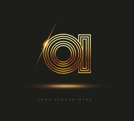 Initial Logo Letter OI, Bold Logotype Company Name Colored Gold, Elegant Design. isolated on black background.