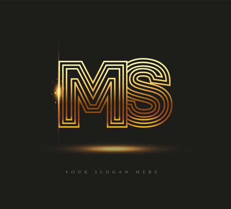 Initial Logo Letter MS, Bold Logotype Company Name Colored Gold, Elegant Design. isolated on black background. 向量圖像