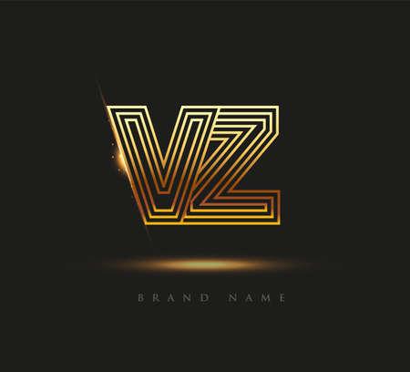 Initial Logo Letter VZ, Bold Logotype Company Name Colored Gold, Elegant Design. isolated on black background.