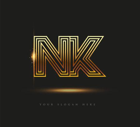 Initial Logo Letter NK, Bold Logotype Company Name Colored Gold, Elegant Design. isolated on black background. Logó