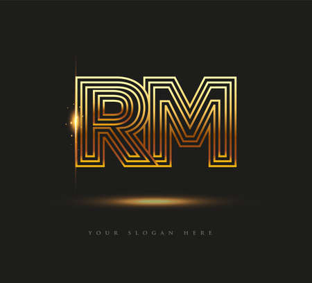 Initial Logo Letter RM, Bold Logotype Company Name Colored Gold, Elegant Design. isolated on black background.