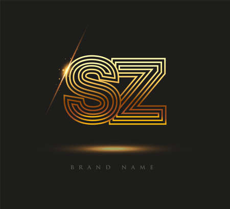 Initial Logo Letter SZ, Bold Logotype Company Name Colored Gold, Elegant Design. isolated on black background. Logó