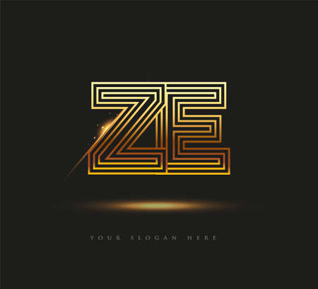 Initial Logo Letter ZE, Bold Logotype Company Name Colored Gold, Elegant Design. isolated on black background.