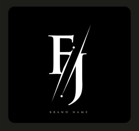 initial logo letter FJ for company name black and white color and slash design. vector logotype for business and company identity.