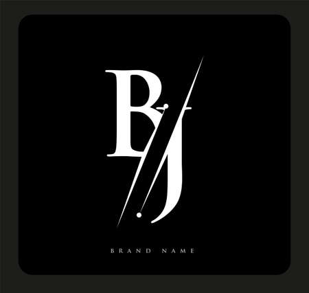 initial logo letter BJ for company name black and white color and slash design. vector logotype for business and company identity. Logó