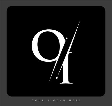initial logo letter OI for company name black and white color and slash design. vector logotype for business and company identity. Logo