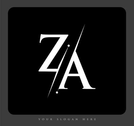 initial logo letter ZA for company name black and white color and slash design. vector logotype for business and company identity. Logo