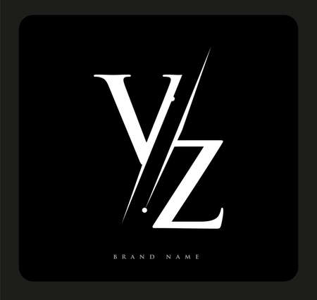 initial logo letter VZ for company name black and white color and slash design. vector logotype for business and company identity.