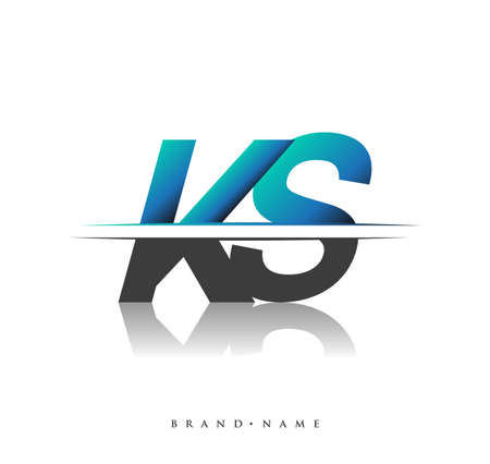 KS initial logo company name colored black and blue, Simple and Modern Logo Design.