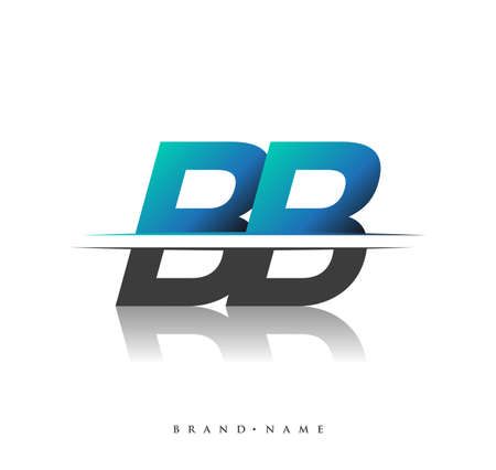 BB initial logo company name colored black and blue, Simple and Modern Logo Design.