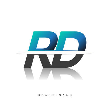RD initial logo company name colored black and blue, Simple and Modern Logo Design.
