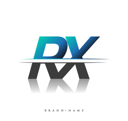 RX initial logo company name colored black and blue, Simple and Modern Logo Design. Logo