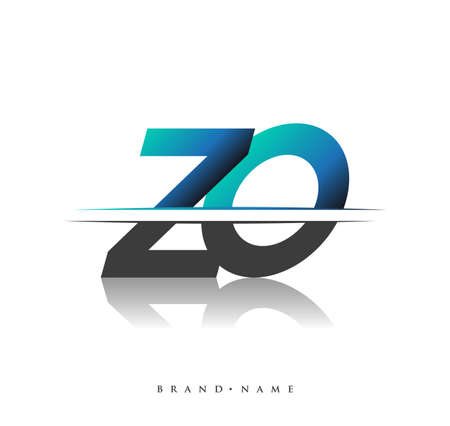 ZO initial logo company name colored black and blue, Simple and Modern Logo Design.