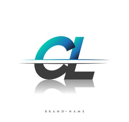 CL initial logo company name colored black and blue, Simple and Modern Logo Design.
