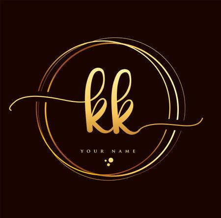 KK Initial handwriting logo golden color. Hand lettering Initials logo branding, Feminine and luxury logo design isolated on black background.