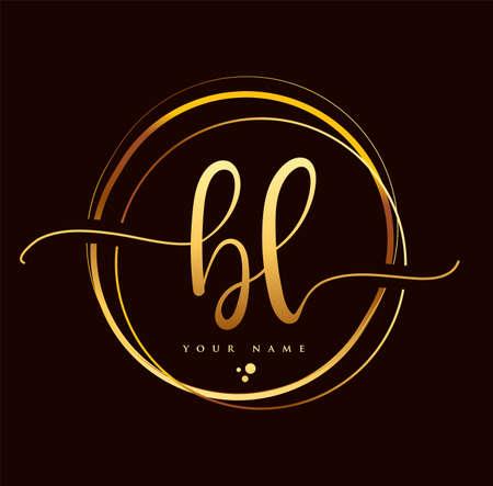 BL Initial handwriting logo golden color. Hand lettering Initials logo branding, Feminine and luxury logo design isolated on black background. Logó