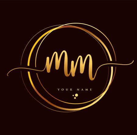MM Initial handwriting logo golden color. Hand lettering Initials logo branding, Feminine and luxury logo design isolated on black background. Logo