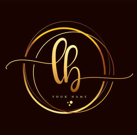 LB Initial handwriting logo golden color. Hand lettering Initials logo branding, Feminine and luxury logo design isolated on black background.