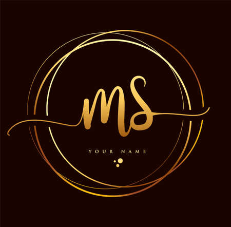 MS Initial handwriting logo golden color. Hand lettering Initials logo branding, Feminine and luxury logo design isolated on black background. 向量圖像