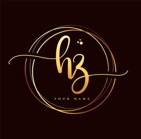 HZ Initial handwriting logo golden color. Hand lettering Initials logo branding, Feminine and luxury logo design isolated on black background.