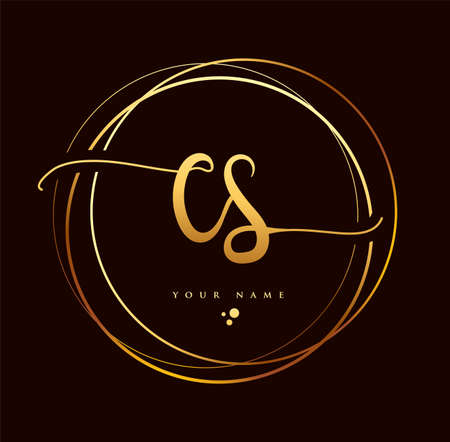 CS Initial handwriting logo golden color. Hand lettering Initials logo branding, Feminine and luxury logo design isolated on black background. Logó