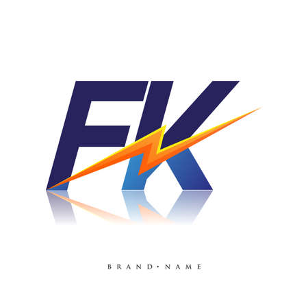 Letter FK logo with Lightning icon, letter combination Power Energy Logo design for Creative Power ideas, web, business and company. Logó