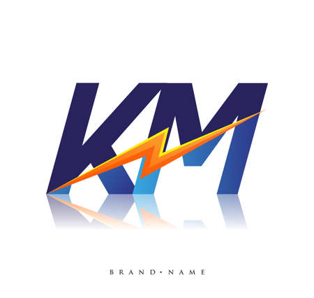 Letter KM logo with Lightning icon, letter combination Power Energy Logo design for Creative Power ideas, web, business and company. Logó