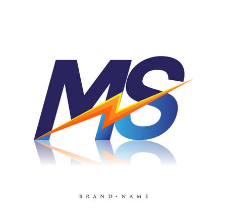 Letter MS logo with Lightning icon, letter combination Power Energy Logo design for Creative Power ideas, web, business and company.