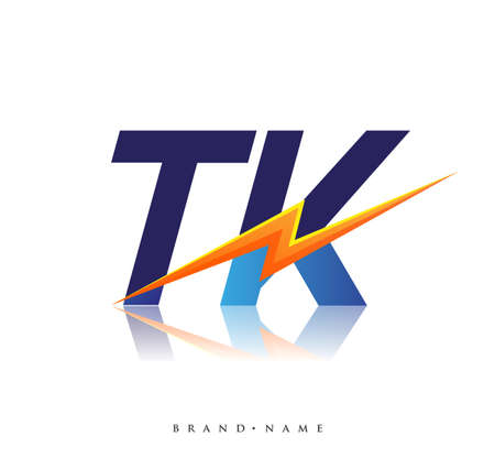 Letter TK logo with Lightning icon, letter combination Power Energy Logo design for Creative Power ideas, web, business and company.