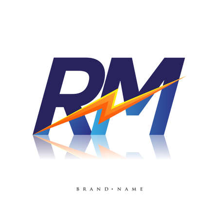 Letter RM logo with Lightning icon, letter combination Power Energy Logo design for Creative Power ideas, web, business and company.