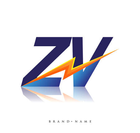 Letter ZV logo with Lightning icon, letter combination Power Energy Logo design for Creative Power ideas, web, business and company. Logo