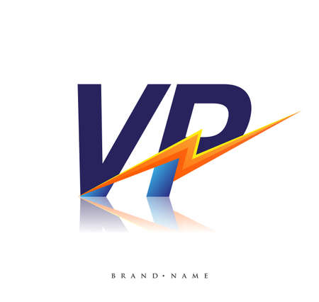 Letter VP logo with Lightning icon, letter combination Power Energy Logo design for Creative Power ideas, web, business and company.