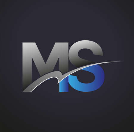 initial letter MS logotype company name colored blue and grey swoosh design. vector logo for business and company identity.