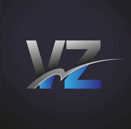 initial letter VZ logotype company name colored blue and grey swoosh design. vector logo for business and company identity.