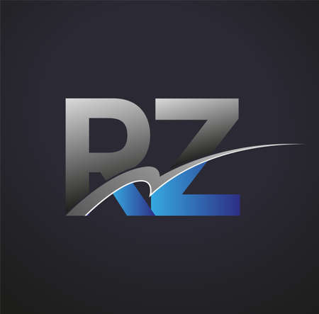 initial letter RZ logotype company name colored blue and grey swoosh design. vector logo for business and company identity.