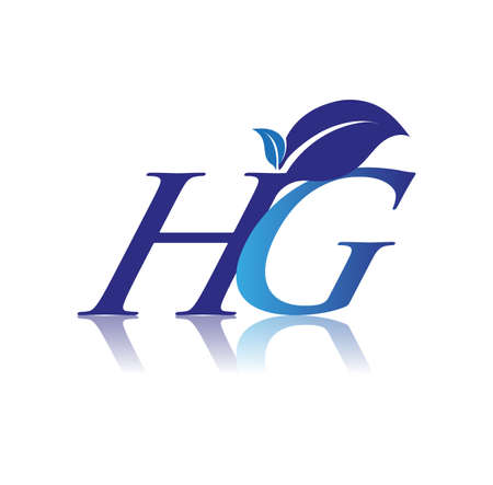 Initial Letter HG With Leaf Logo, colored blue nature and environment logo. vector logo for business and company identity.