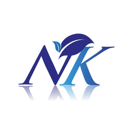 Initial Letter NK With Leaf Logo, colored blue nature and environment logo. vector logo for business and company identity.