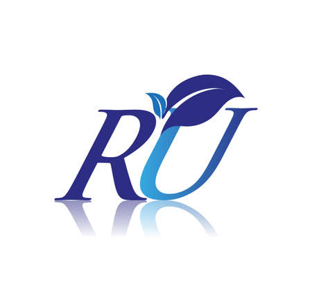 Initial Letter RU With Leaf Logo, colored blue nature and environment logo. vector logo for business and company identity. Logó