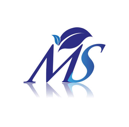 Initial Letter MS With Leaf Logo, colored blue nature and environment logo. vector logo for business and company identity.